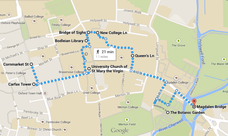 Oxford Walking Map - One Day in Oxford - www.shewalkstheworld.com