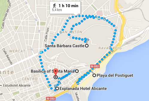 Alicante in One Day - Map - www.shewalkstheworld.com